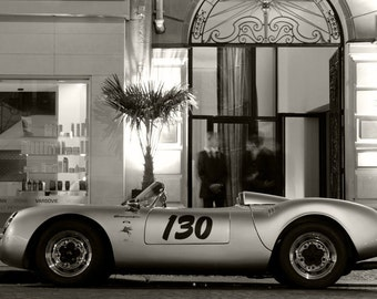 Porsche 550 Spyder Left Side Black and White HD Poster Classic Sports Car Print