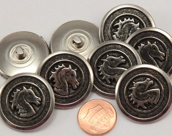 """Lot of 8 Large Silver Tone Metal Black Accent Shank Buttons Puffed Horse Head 1 1/8"""" 29mm (#6320)"""