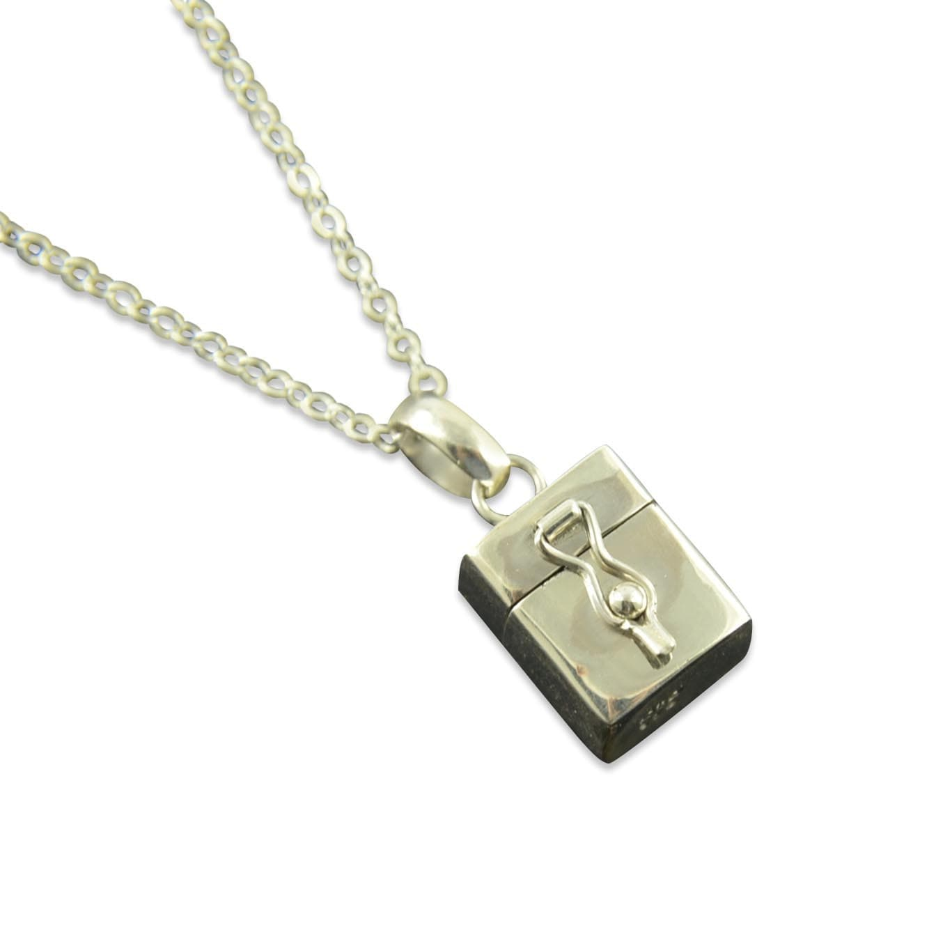 sterling silver prayer box necklace pill box necklace by