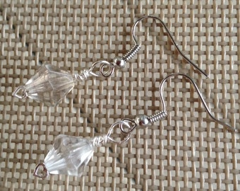 Earrings in antique silver with clear faceted beads