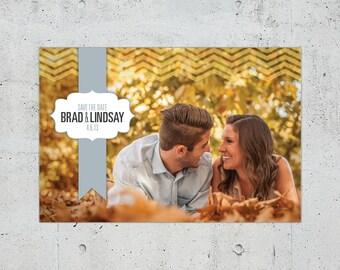 Shabby Chic Chevron Wedding Save the Date | Printable DIY | Color Customizable