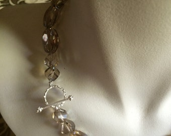 Flowing Champagne Crystal Beaded Necklace
