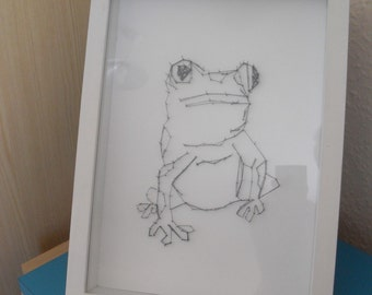 Harlequin Frog made with pins and thread