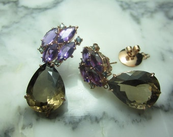 Ring Pendant Topaz Amethyst Italy gold necklace stud earrings smoky quartz faceted