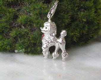 Disco Dog dog charms silver pendant chain Poodle band collar
