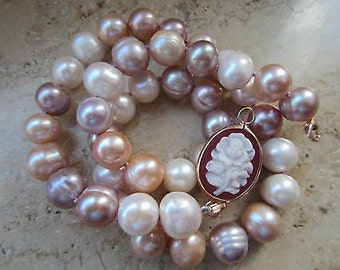 TOM K Collier pearl Necklace rose coral switch it Collection Cabochon wedding Gold brides maid