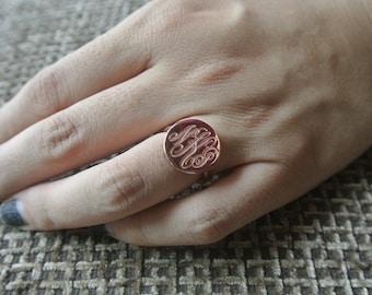 Rose Gold Monogram Ring,Personalized Monogram Ring,Initial Monogram Ring,Monogrammed Gift,Silver Monogram Ring,Engraved Monogram,Gift R003