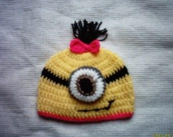 Crochet minion hat, newborn minion hat, baby girl minion hat, baby minion hat, girl minion hat, minion hat