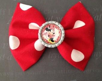 handmade Minnie Mouse hair bow, disney bow