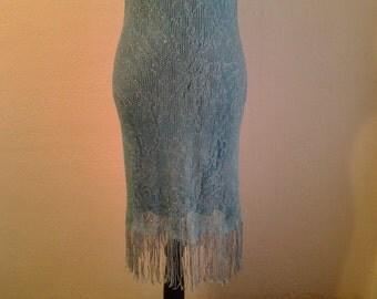 Vintage Teal Mesh Hourglass Fringe Dress