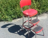 Vintage COSCO High Chair / Booster Seat with retractable folding stairs steps mid century 1940 red