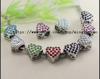 10pcs Antique Silver Tone Crystal Rhinestones Heart shape Big Hole Charm European Beads Bracelet jewelry findings 11x11mm