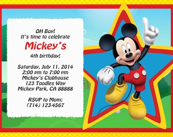 Mickey Mouse Invitation, Digital File, Can be done in Spanish