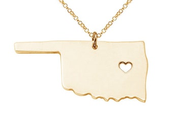 Gold Oklahoma State Necklace,Ok State Charm Necklace,State Shaped Necklace,Personalized State Necklace 18k Gold State Necklace With A Heart