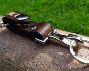 Leather Valet Keychain, Keyring - Hand made, 3mm thick bridle leather, Bushcraft, Groomsmen, Urban EDC,Mens Gift, Womens Gift