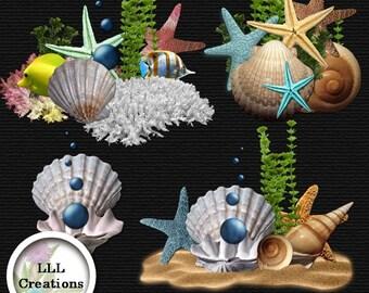 LLL Scrap Creations - Tropical Beach Clusters - Digital Scrapbooking Kit