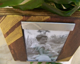 Reclaimed wood picture frame - gold striped holds 3x5 - hand painted