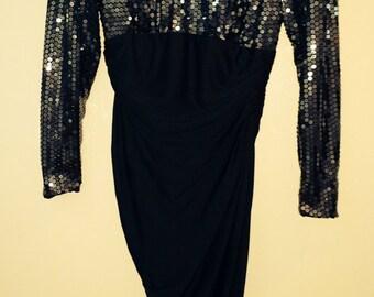 Black Tadashi Sequined Rouched Dress