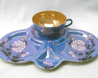 Party, Luncheon Set (Single) Blue & Gold Lustre Made in Japan
