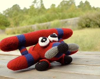 Stuffed toy plane - Freddy the Airplane - crochet toy - for kids - air plane plush toy - amigurumi plane