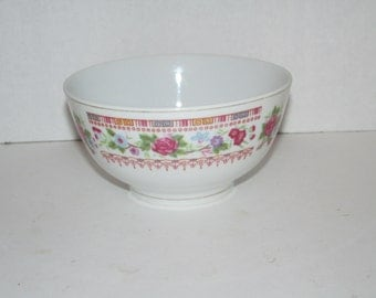 Vintage Chinese Flower Rice Bowl