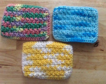 Crochet Scrubbies, Face scrubbies, Cotton Scrubbies Set of Three
