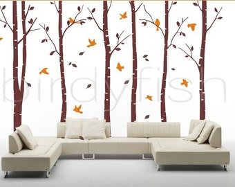 wall decals, nature wall decals, vinyl wall decal, nature wall decal stickers, birch tree wall decal, nursery wall stickers-Birch and Bird