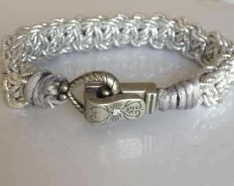 Sparkling Silver Bracelet with Pewter and Crystal Heart Closure