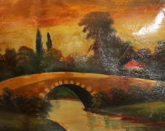 European antique oil painting river bridge