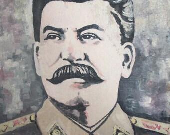 Vintage oil painting portrait Joseph Stalin