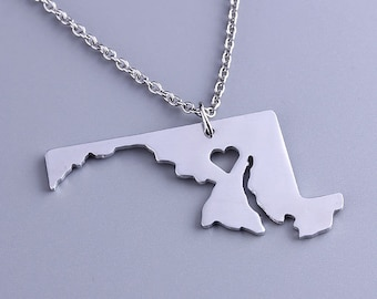 I heart  Maryland Necklace - Maryland Pendant - State Charm - Map necklace - Map Jewelry