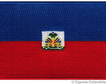 HAITI FLAG PATCH iron-on embroidered applique Top Quality
