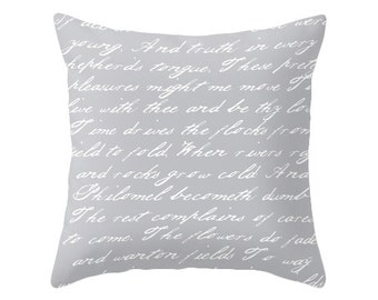 Grey and white handwriting poem throw pillow handwriting grey cushion throw pillow typography cushion cover grey throw pillow grey pillow