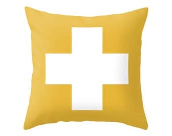 Cross pillow cover Mustard yellow swiss cross pillow Mustard yellow cushion yellow pillow cross cushion yellow throw pillow yellow decor
