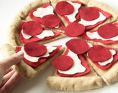 Felt Food Pretend Play Homemade Pizza Set, Pepperoni Cheese, Play Kitchen