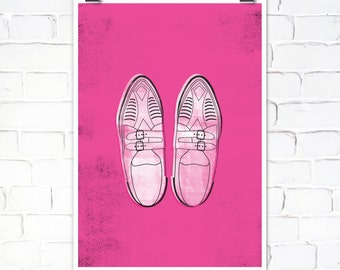 Pretty in Pink Movie Art Print - Duckie's Shoes - Sizes A4/A5/5 x 7""