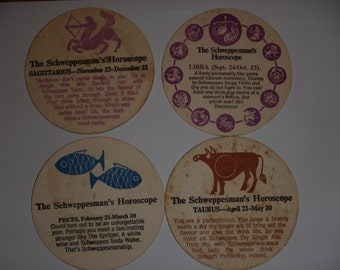 Vintage Schweppes  astrological Horoscope drink coaster. Used. Schweppervescence