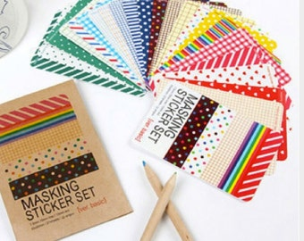 Masking sticker set - 27 sheet basic tones