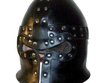Leather Barbuta Helmet