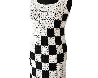 SALE  crochet  lace dress  crochet womens dress    white and black dress   elegant dress  coctail dress  handmade dress   ready to go