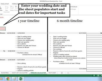 wedding timeline excel