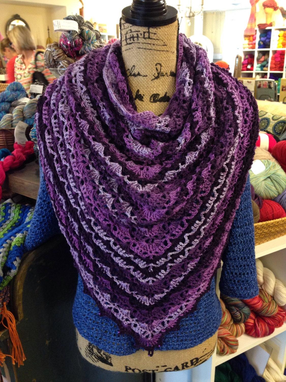 Crochet Patterns For Sweet Roll Yarn : Crochet Purple Shawl beaded edging by KnotteeHooker on Etsy