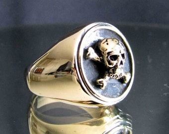 bronze ring Skull Jolly Rogers Pirate  NEW (10)