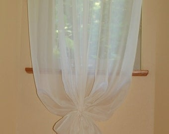 55'' Wide and Custom Length Simple Sheer Voile Window Curtain Panel in Ivory/Cream or White  with Matching Tie Back