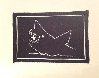 Jaws movie shark linocut block print