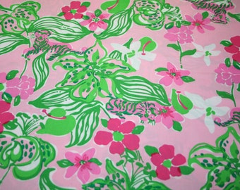 """Lilly Pulitzer fabric ~ PINK TIGER LILLY~ 18"""" by 18""""~ 100% Cotton"""