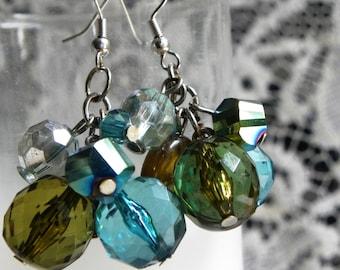 Cluster earrings, beaded earrings, earthy earrings, crystal earrings