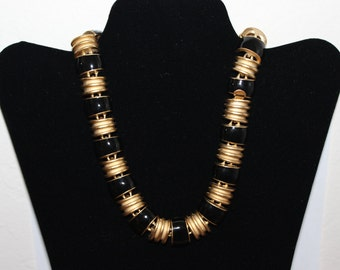 Vintage 1980s Gold and Black Collar Statement Necklace