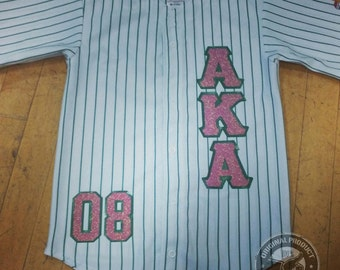 "Custom ""AKA"" Pinstripe Baseball Jersey with Glitter Letters"