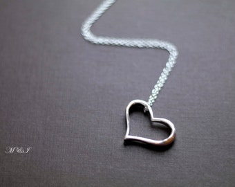 925 Sterling Silver Heart Necklace -  Everyday necklace